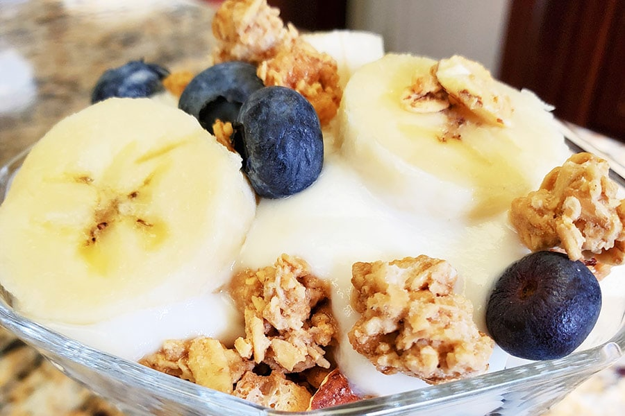 Naples Maine Breakfast yogurt with fruit and granola